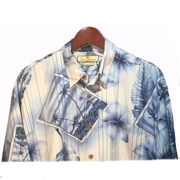 Tommy Bahama Other - Tommy Bahama Blue Silk Hawaiian Shirt Size L